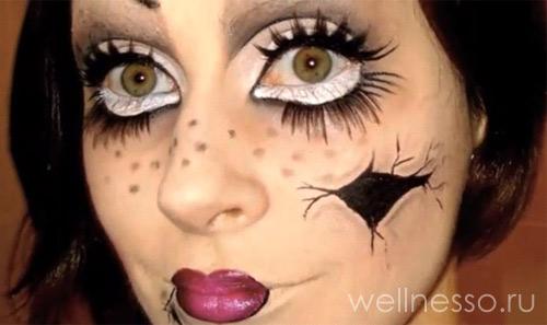раскрасить лицо под куклу