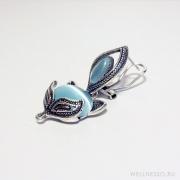 серьги лиса с голубым камнем
