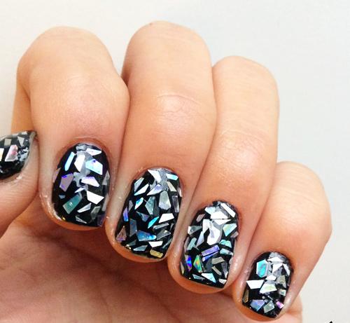 Как сделать на ногтях битое стекло