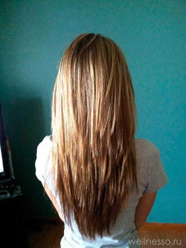 Рваная стрижка на длинные волосы вид сзади