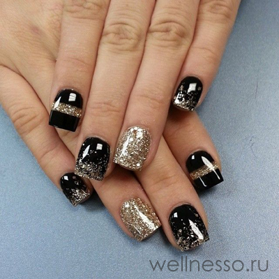 Ногти дизайн золото с черным