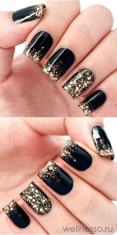 Ногти черно-золотые