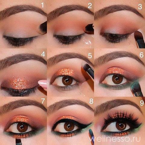 Эффектный акцент золотого макияжа
