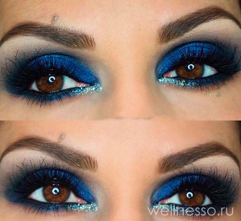 голубой макияж для карих глаз