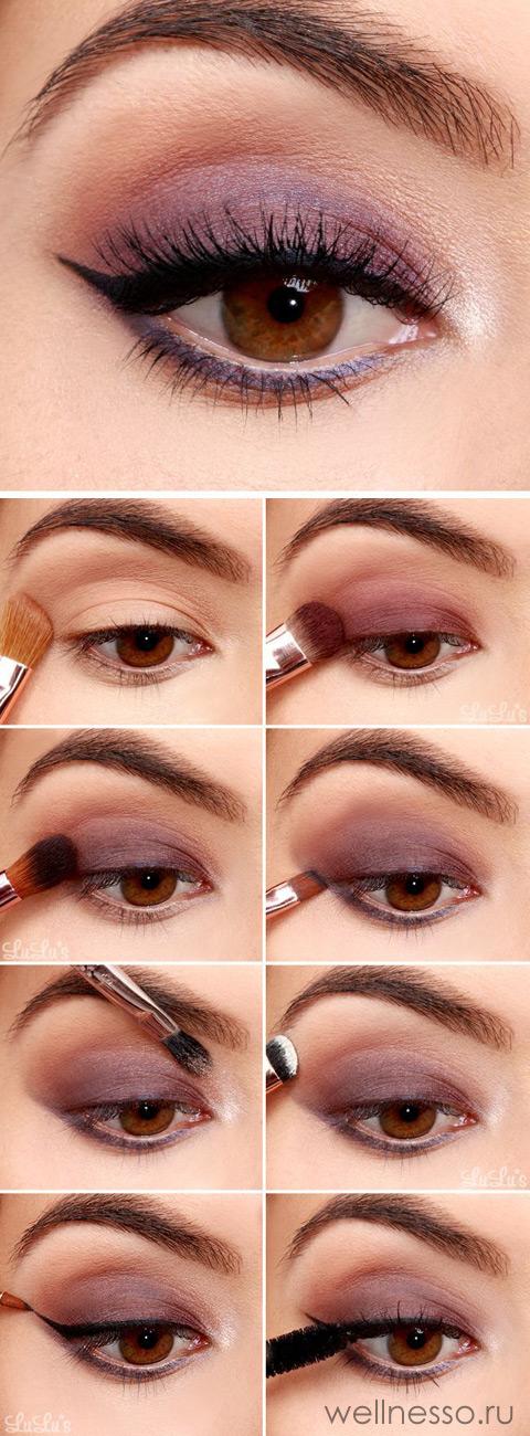 Макияж в бордовых тонах для карих глаз Розово - бордовый макияж, мастер - класс с пошаговыми