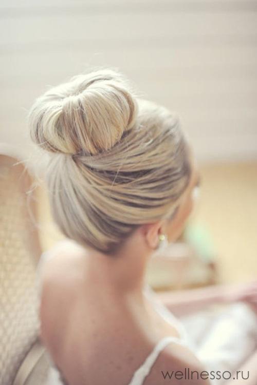 Свадебная прическа «шишка-пончик»