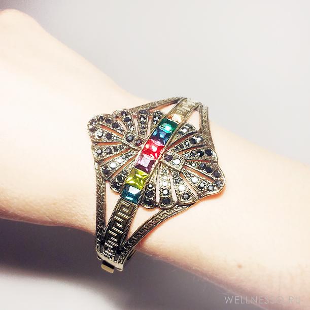 браслет обруч под состаренное золото античный