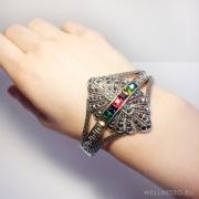 браслет под состаренное-серебро с разноцветными камнями