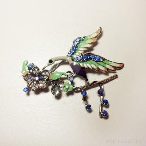 брошка птица голубо-зеленая