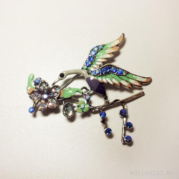 брошка большая изящная птица счастья голубо-зеленая